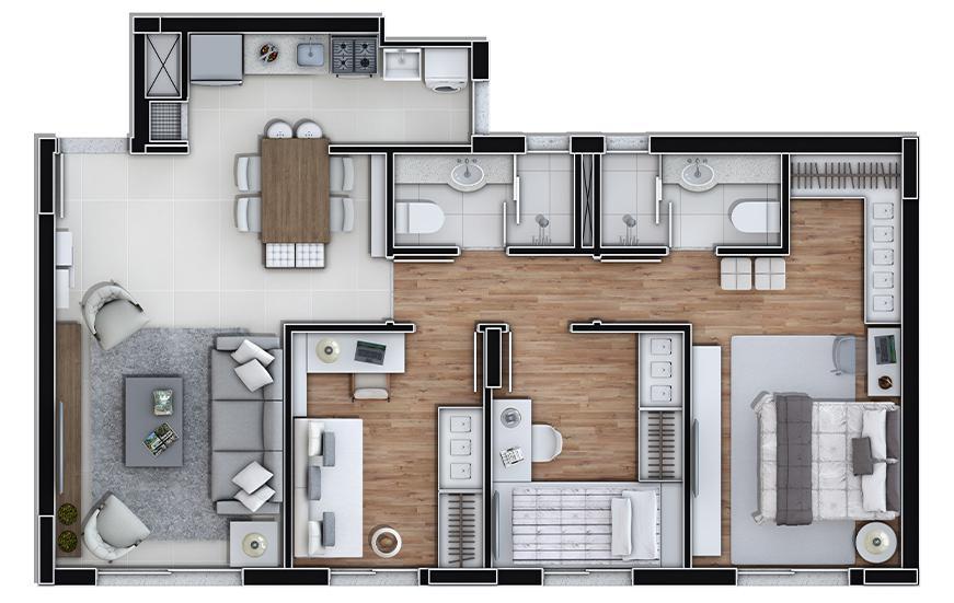 Imobiliária Lottici - Apto 3 Dorm, Marechal Rondon - Foto 9